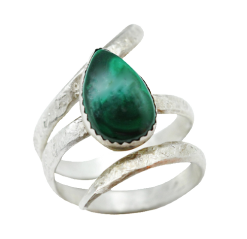Sterling and Malachite Ring. Sacred Spiral Collection