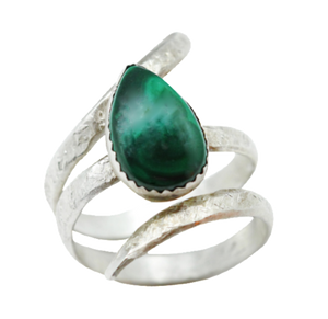 Sterling and Malachite Ring. Sacred Spiral Collection. Size 8