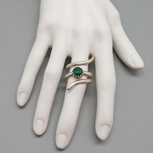 Sterling and Malachite Ring. Sacred Spiral Collection.