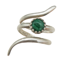 Load image into Gallery viewer, Sterling and Malachite Ring. Sacred Spiral Collection.