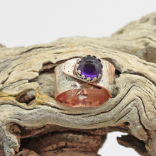 Load image into Gallery viewer, copper and sterling purple ring. handmade ring