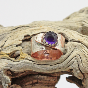 copper and sterling purple ring. handmade ring
