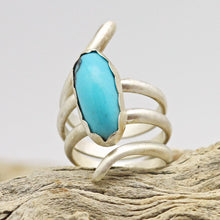 Load image into Gallery viewer, handmade in Arizona sterling ring. turquoise December birthstone. Women's gift idea. unique jewelry