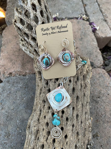 turquoise earrings and matching pendant