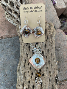 spiiral pendant and matching earrings in tigers eye