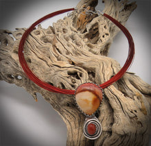 Load image into Gallery viewer, Sedona Sunset Polychrome Jasper and Goldstone Sterling Pendant