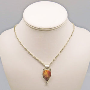 sterling pendant and necklace with jasper gemstone