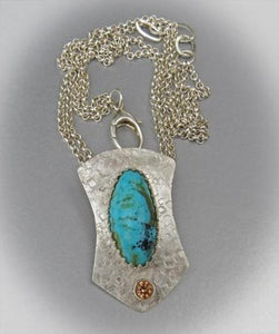 Kingman Elegance Sterling and Turquoise Pendant.