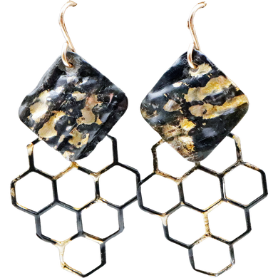 22k gold and steel earrings