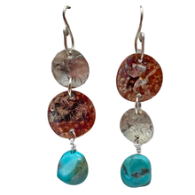 "Load image into Gallery viewer, Turquoise Ancient Spirit Earrings. 2 1/2"" long"