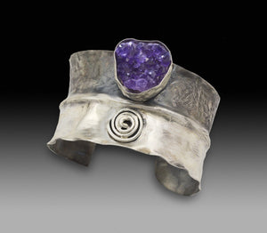 one of a kind amethyst geode cuff