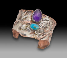 Load image into Gallery viewer, one of a kind sterling copper amethyst cuff