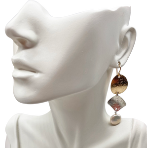 "Ancient Spirit Earrings-Gold, Silver and Pearl 2 3/4"" long"
