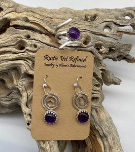 amethyst earrings and ring combo