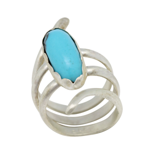 Sacred Spiral Turquoise and Sterling Ring. Size 7 1/2