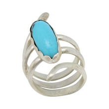 Load image into Gallery viewer, December birthstone turquoise ring. Artisan rings. Gifts for women. sacred spiral ring