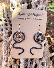 "Load image into Gallery viewer, Sacred Spiral Steel and 18K gold Earring. 1 7/8"" long"