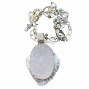 Snow capped Mountain Druzy Quartz  Pendant.