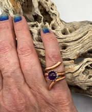 Load image into Gallery viewer, Copper and amethyst Ring. Sacred Spiral Collection
