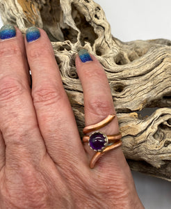 Copper and amethyst Ring. Sacred Spiral Collection