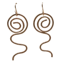 Load image into Gallery viewer, gold fill earrings sacred spiral
