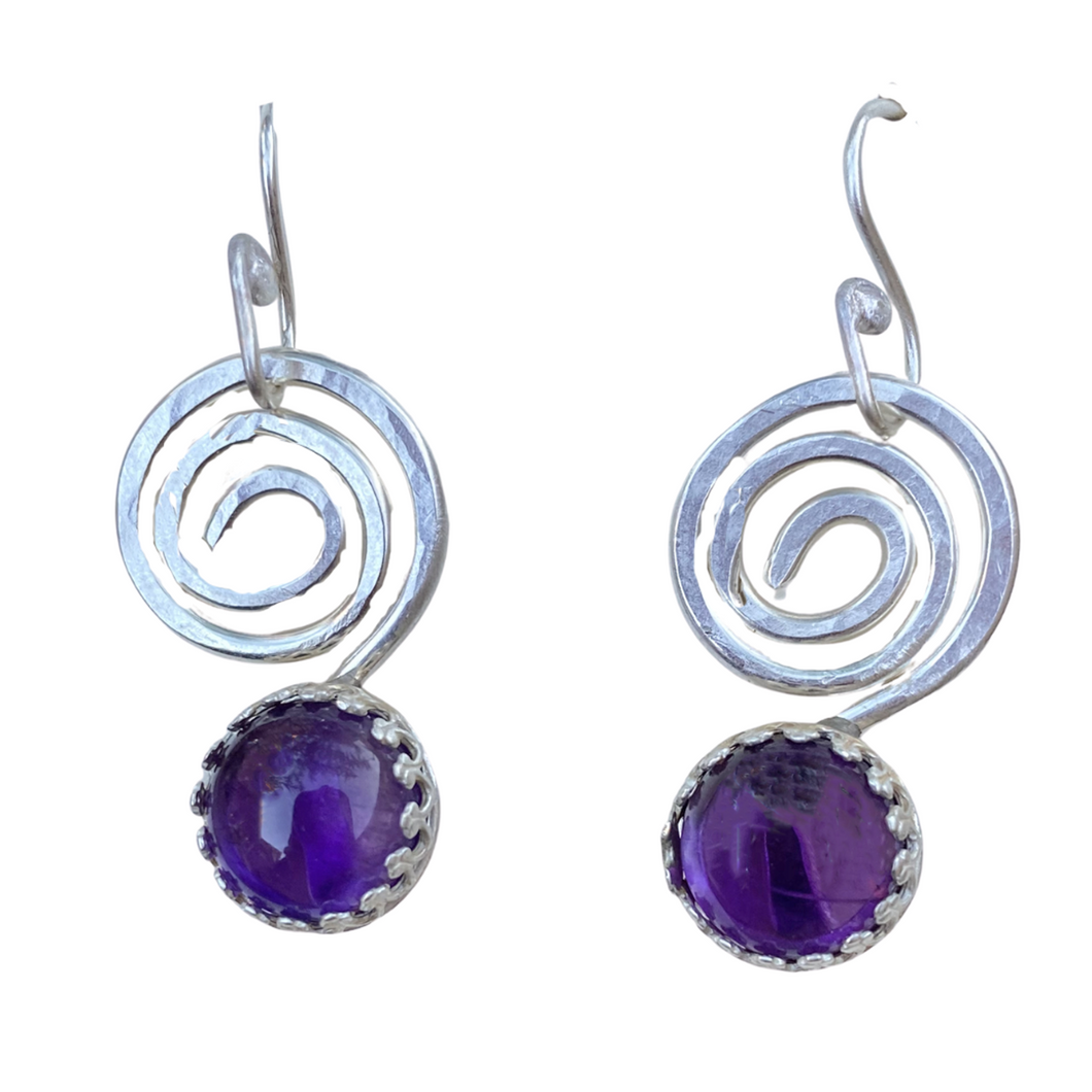 sacred spiral amethyst earrings