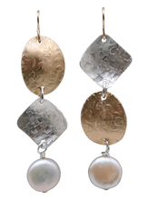 "Load image into Gallery viewer, Ancient Spirit Earrings-Gold, Silver and Pearl 2 3/4"" long"