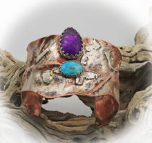 Load image into Gallery viewer, February birthstone amethyst cuff with chryscolla gems