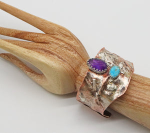 amethyst gemstone cuff shown on wrist