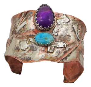 copper sterling cuff bracelet with amethyst gemstone