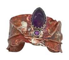Load image into Gallery viewer, handmade custom design cuff bracelet with amethyst gemstones