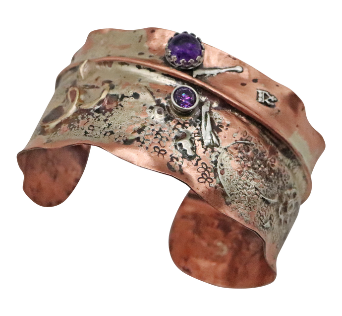 Copper, Sterling and Amethyst  Cuff Bracelet