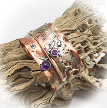 Load image into Gallery viewer, Copper, Sterling and Amethyst  Cuff Bracelet