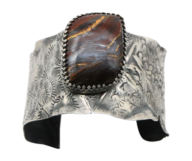 Antiqued  Sterling tiger Iron gemstone Cuff Bracelet.