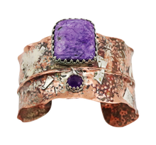 Load image into Gallery viewer, charoite gemstone jewelry in a cuff bracelet
