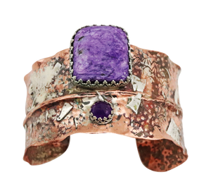 charoite gemstone jewelry in a cuff bracelet