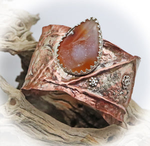 handmade copper and sterling gemstone cuff