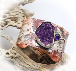 February birthstone amethyst geode gem on cuff