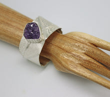 Load image into Gallery viewer, sterling silver cuff with amethyst geode is one of a kind