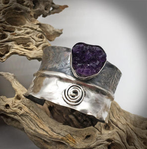 antiqued sterling cuff bracelet with amethyst gem