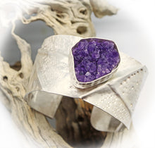 Load image into Gallery viewer, February birthstone amethyst sterling cuff bracelet from Arizona