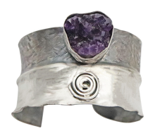 Load image into Gallery viewer, amethyst geode sterling cuff bracelet