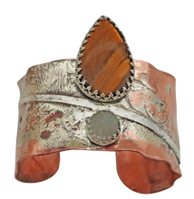 Load image into Gallery viewer, custom designed copper and sterling cuff bracelet is one of a kind