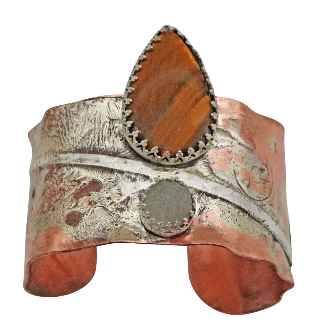 custom designed copper and sterling cuff bracelet is one of a kind