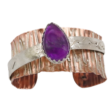 Load image into Gallery viewer, Copper and sterling amethyst cuff