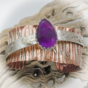 amethyst gemstone cuff in copper and sterling