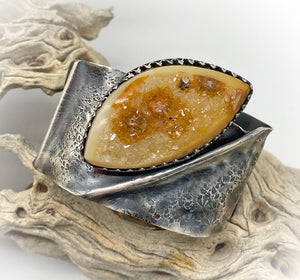antiqued sterling with druzy quartz cuff