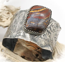 Load image into Gallery viewer, Antiqued  Sterling tiger Iron gemstone Cuff Bracelet.