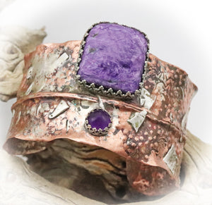 amethyst and charoite cuff bracelet