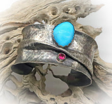 Load image into Gallery viewer, Magnificent Southwest Sterling, turquoise and Ruby gemstone Cuff Bracelet.
